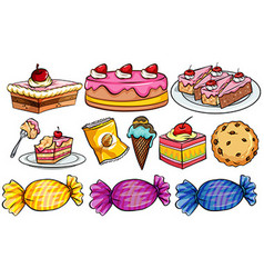 Different types of desserts on white vector