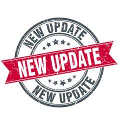 new update round grunge ribbon stamp vector image