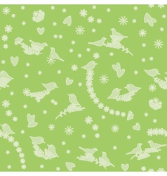 Seamless pattern with birds flowers and hearts vector image