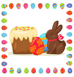 tasty easter treats in eggs frame vector image vector image
