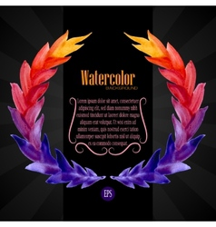 Watercolor template with wreath of colorful leaves vector image vector image