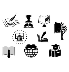 Black and white education or knowledge icons vector image vector image