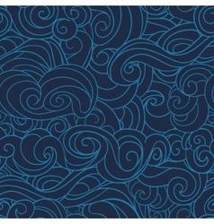 dark Blue waving curls marine sea pattern ocean vector image vector image
