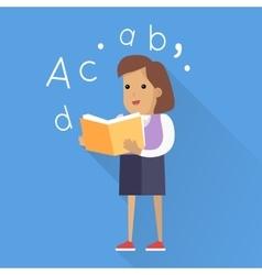 Schoolgirl with Book Isolated Character vector image