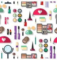 Seamless background with cosmetics flat icons vector image