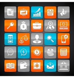 Set of glossy business and money web icons vector image vector image