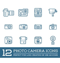 Set of Photo or Camera Elements and Video Camera vector image
