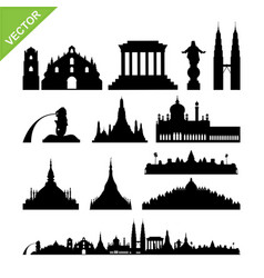 southeast asia cities landmark and skyline vector image