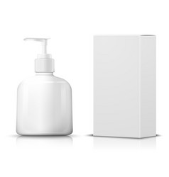 3d realistic shampoo pump bottle paper box vector