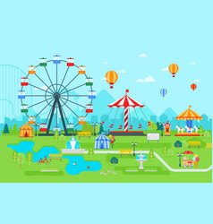 Amusement park flat at daytime vector