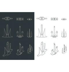 Anchors set drawings vector