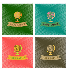 Assembly flat shading style icons geography lesson vector