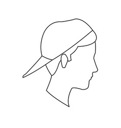 Avatar head guy young profile outline vector