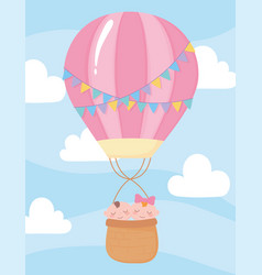 baby shower cute babies in hot air balloon sky vector image