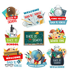 Back to school and welcome study posters vector