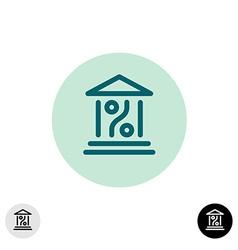 Bank percent icon vector