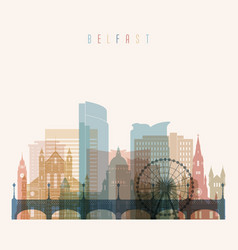 belfast skyline detailed silhouette transparent vector image
