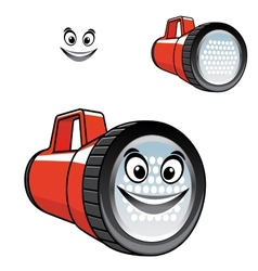 Big red torch or flashlight with a happy smile vector image