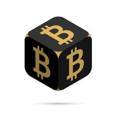 bitcoin black bitcoin cube vector image