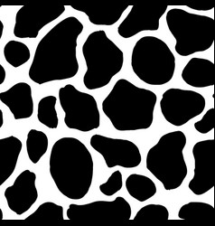 black and white cow pattern background animal skin vector image
