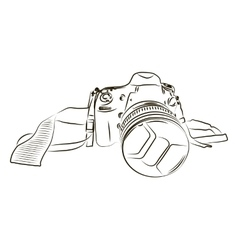 Black camera sketch on a white background vector