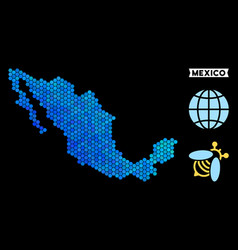 Blue hexagon mexico map vector