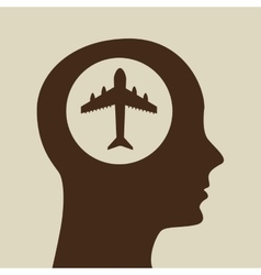 blue silhouette head airplane icon design vector image