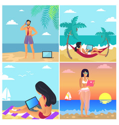 business summer posters set vector image