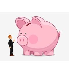 Businessman with big piggybank Money saving vector