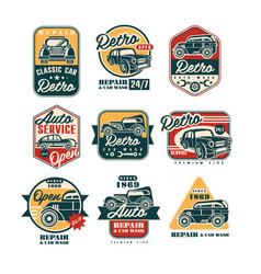 Car repair vintage style labels set auto service vector