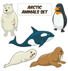 Cartoon arctic animals set vector image