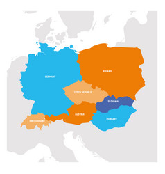 Central europe region map countries in central vector