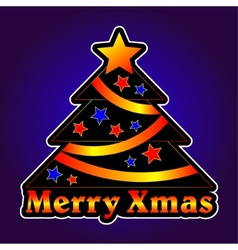 Christmas tree with stars on a violet background vector image