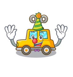 Clown clockwork toy car isolated on mascot vector