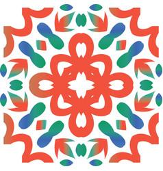 Color national ornament in ethnic ceramic tile vector