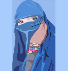Colorful an islamic arabic woman vector