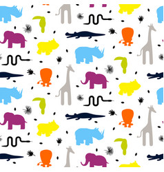 colorful zoo animal silhouettes vector image