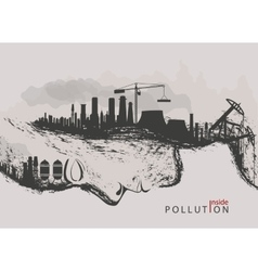 Concept of environmental pollution by factories vector