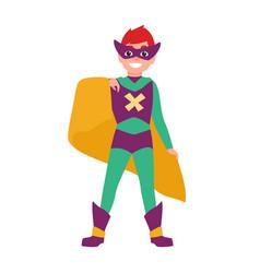 Cute smiling superboy or superchild happy boy vector