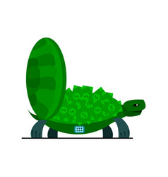 cute turtle with money turtle safe icon vector image