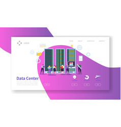 Data center concept landing page hosting service vector