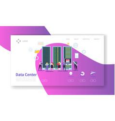 data center concept landing page hosting service vector image