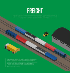 delivery freight isometric banner vector image