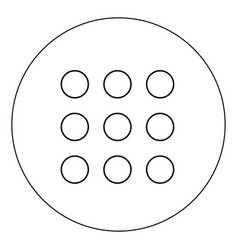 dial button icon black color in circle vector image