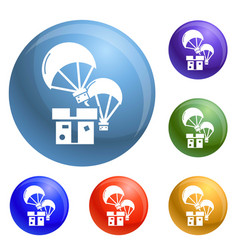 donation parachute box icons set vector image