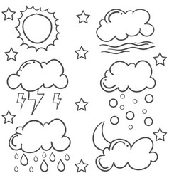 doodle of cloud various set vector image