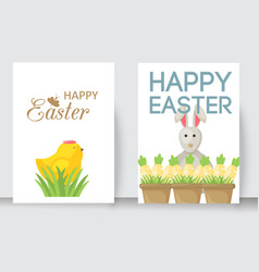 Easter cards cartoon characters and vector