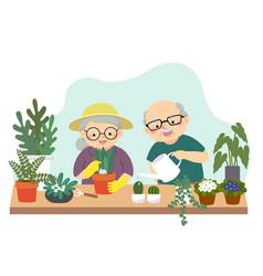 elderly couple gardening vector image