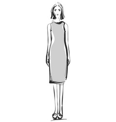 fashion models sketch cartoon girl dress vector image