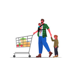 Father with little children pushing trolley cart vector